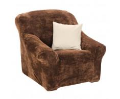 Housse microfibre extensible fauteuil canapé - marron