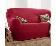 Housse unie extensible fauteuil canapé - bordeaux
