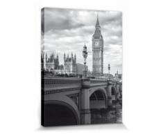 Londres Poster Reproduction Sur Toile, Tendue Sur Châssis - Big Ben Et Westminster Bridge (40x30 cm) - Décoration murale