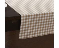 Chemin de table à motif carreaux en coton beige - linge de table et décoration