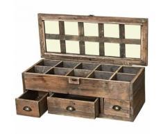 Grande Boîte Coffre Cofrret de Rangement à Thé en Bois 60x25x22 cm - Objet à poser