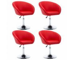 vidaXL Chaise pivotante 4 pcs Similicuir 67,5x58,5x87 cm Rouge - Chaise