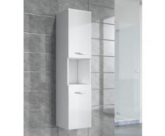 Armoire de rangement de Montreal Hauteur : 131 cm Blanc brillant - Meuble de rangement haut placard meuble de salle de bain - Installations salles de bain