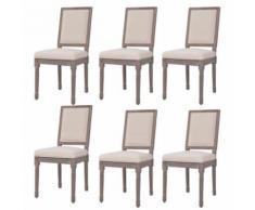 Meelady- Chaise de salle à manger housse de chaise Lin 47 x 58 x 98 cm Blanc crème - Chaise