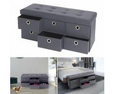 Banc coffre rangement gris 6 tiroirs 100X38X38 cm PVC - Accessoires salles de bain et WC