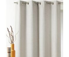 Rideau occultant à oeillets uni polyester effet chambray 140x260cm JACINTHE - Ecru - Rideaux et stores