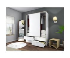 CAPRI Armoire de chambre style contemporain blanc mat et décor sonoma clair - L 140 cm - Objet à poser