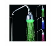 Douchette pommeau de douche plafond led indicateur lumineux de temperatures inox - YONIS - Accessoires salles de bain et WC