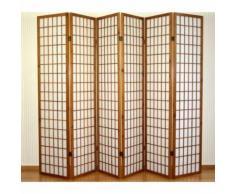 Paravent 6 panneaux en bois marron et papier riz 175x264cm PAR06047 - Objet à poser