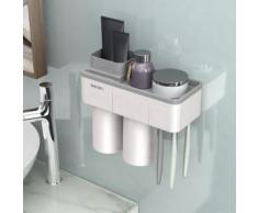 Porte-brosse à dents squeeze Dentifrice stockage Couple Cup Set Box mur suspendu_Kiliaadk1267 - Accessoires de rangement