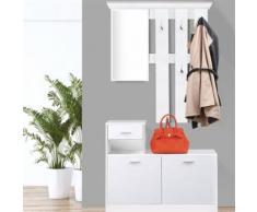 Vestiaire d'entrée avec miroir design blanc portes blanches - Vestiaires