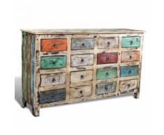 Commode Cabinet de Rangement Vintage 16 Tiroirs Face en Blanc - Caissons et casiers de bureau