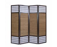 Homestyle4u 4 pan Diviseur de pièce paravent taille spéciale 2 m de hauteur - bois diviseur Shoji avec bambou au riz brun blanc - Rideaux et stores