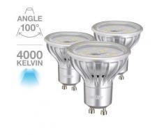 Lot de 3 spots 280 lumens GU10 blanc neutre 4.5W équivalent à 25W - Appliques et spots