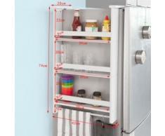 SoBuy® Étagère à suspendre pour réfrigérateur avec ventouses Étagère à épices en bois - 3 étagères et 5 crochets - Blanc FRG150-W - Etagères murales et tablettes