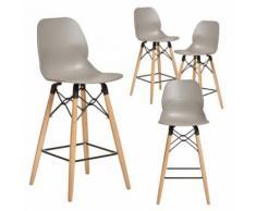 Chaise haute grise style scandinave CLEO 2, lot de 4 - Tabourets