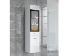Armoire de rangement Rio Hauteur : 131 cm Blanc brillant - Meuble de rangement haut placard meuble de salle de bain - Installations salles de bain