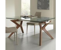 Table à manger avec rallonge en verre et et bois MARISA - L 240 x P 90 x H 76 cm - Tables salle à manger