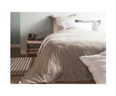 Taie d'oreiller unie lin et coton lavé volant 2 cm HORTENSE 50x70cm beige - Linge de lit