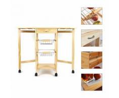 Meuble cuisine en pin massif Desserte chariot 3 étages 91 * 37 * 75cm - Dessertes de rangement