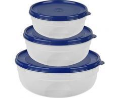 Emsa 517097 super line set de boites de conservation de, rond plat, 0,8 1,4 2,4 l, plastique, bleu, 23,5 x 23,5 x 9,1 cm - Accessoires de rangement