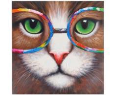 Tableau à l'huile 3D, chat hipster, peint à la main à 100%, toile de décoration murale XL ~ 90x90cm - Décoration murale
