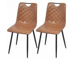 vidaXL Chaises 2 pcs en cuir artificiel Marron clair Chaises de salle à manger cuisine - Chaise
