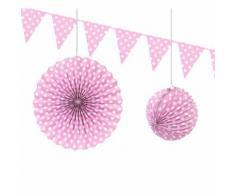 Lot de 6 Décorations à pois coloris Rose Lampion, rosace et guirlande de fanions - Objet à poser