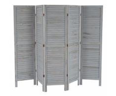 Paravent /séparation bois, 5 pans, 228x2x170cm, shabby, vintage, gris - Objet à poser