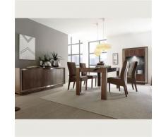 Nouvomeuble - Salle à manger moderne couleur bois et inox erine - Tables salle à manger