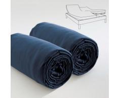 Double drap housse spécial matelas double BLEU 80 X 200 X 30 Les Ateliers du Linge - Linge de lit