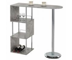 Table haute de bar VIGANDO mange-debout comptoir avec 3 étagères dont 1 porte-bouteilles, en métal chromé et plateau MDF décor béton - Tables bar