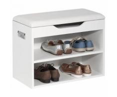 Banc de rangement meuble à chaussures ZAPATO MDF mélaminé 2 étagères avec assise blanc - Bancs