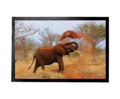 Eléphants Paillasson Essuie-Pieds - Éléphant Africain Prend Sa Douche De Sable (40x60 cm) - Tapis et paillasson