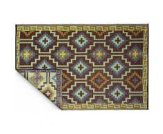 Fabhabitat - Tapis intérieur extérieur Lhasa bleu roi et chocolat 150 x 90 cm - Tapis et paillasson
