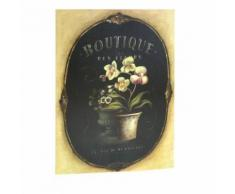 L'Héritier Du Temps - Grand tableau cadre mural en bois avec impression sur toile motifs floral fleur orchidée en pot 2,50x50x70cm - Décoration murale