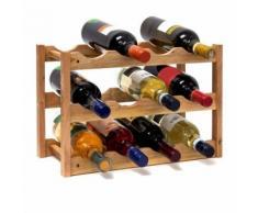 Casier à vin range bouteilles horizontal 3 étages pour 12 bouteilles en bois de noyer - Meubles de cuisine