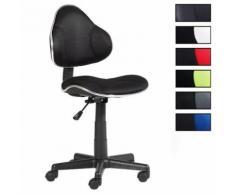Fauteuil chaise de bureau enfant hauteur réglable revêtement tissu noir/noir - Sièges et fauteuils de bureau