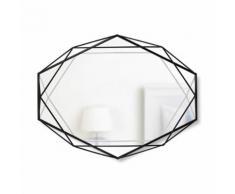 Miroir mural forme géométrique en métal PRISMA - Noir - Miroir