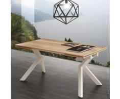 Table avec rallonge couleur bois et blanche moderne ESTHER - L 240 x P 90 x H 77 cm - Tables salle à manger