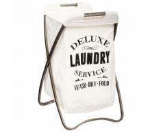 Panier à linge pliant +housse amovible - blanc cassé et gris vieilli - Meubles de salle de bain