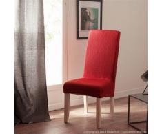 Housse de chaise uni bi-extensible coton/polyester rouge - lot de 2 LISA - Textile séjour