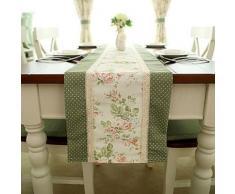 Chemin de table de style français à motif floral en polyester et coton vert 35 x 220 cm - linge de table et décoration