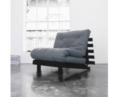 Pack matelas futon gris clair coton structure en bois wengé 90x200 - Terre de Nuit - Canapés