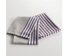 2 torchons 50 x 70 cm coton tisse cave a vin Violet - Linge de table