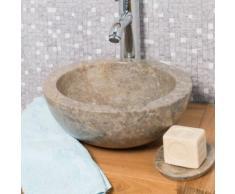 Vasque Ronde BARCELONE à poser en marbre de couleur Gris - Diamètre 30 cm - Installations salles de bain