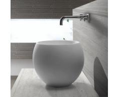Vasque à Poser Ronde Haute Blanc Mat, 40x40 cm, Composite, Nature - Installations salles de bain