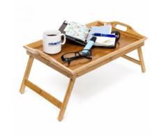 Tablette de Lit pliable Plateau Petit Déjeuner en bambou laqué bois H x l x P: 25 x 52 x 33 cm - Meubles de cuisine