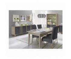 Salle à manger complète MALMO. Buffet, bahut + vaisselier + 3 x miroirs + Table 160 cm. Coloris sonoma et gris béton - Buffets