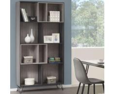 Bibliothèque moderne couleur bois gris SANTORI - L 102 x P 29 x H 195 cm - Étagère